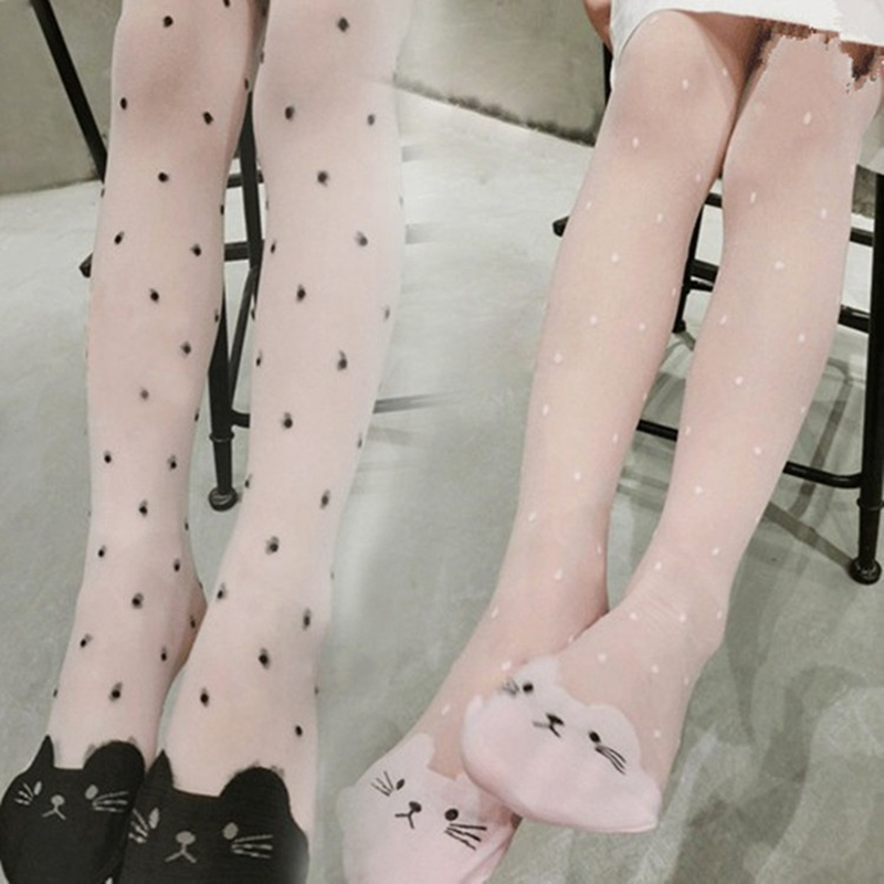 Children Confortable Pantyhose Baby Girl Cartoon Cat Design Tight Long Stocking Kid Candy Colors Pantyhose Toddler Lovely Tights