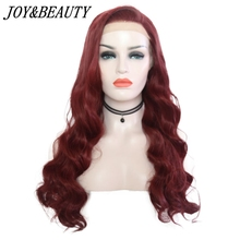 JOY&BEAUTY Burg 26 Inch Hair Fashion Color Heat Resistant Synthetic Lace Front W