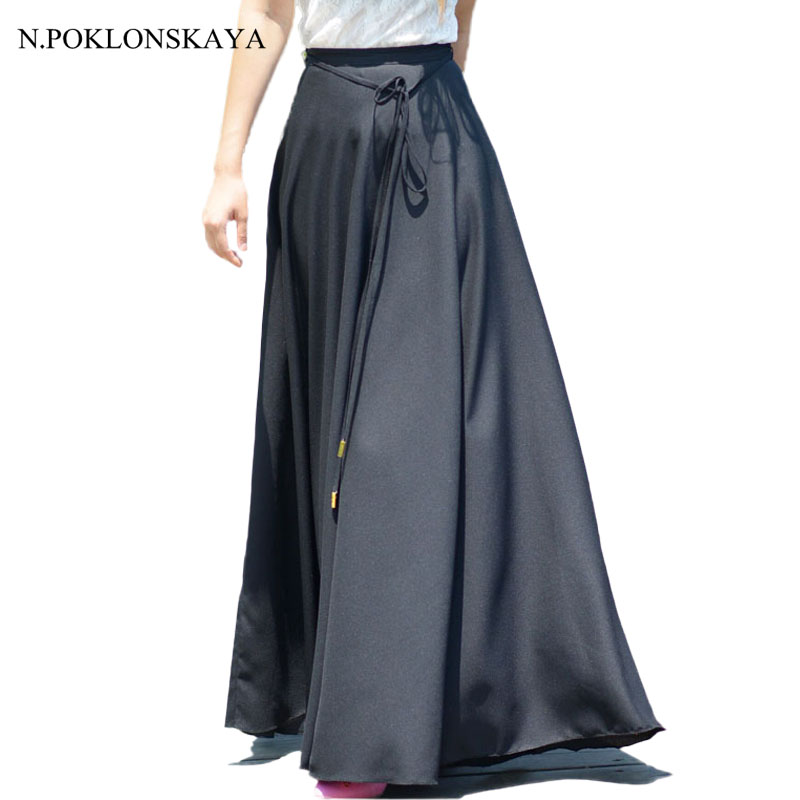 N.POKLONSKAYA 2017 Maxi Long Skirt Ankle Length Lolita Women Pleated Skirts Womens Boho High Waist Black Saia Longa Jupe Femme H