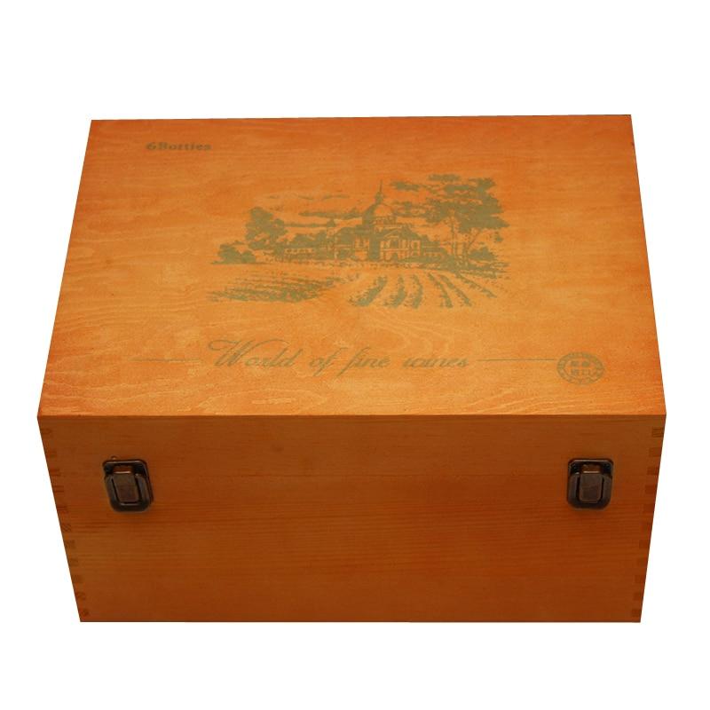 caja de madera del vino barato montado seis soporte de madera de pino envases de
