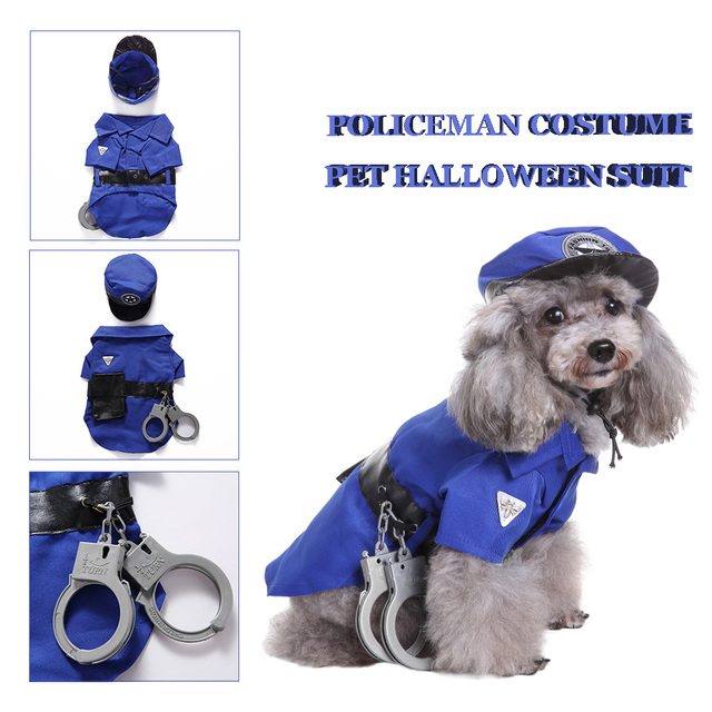0932778c7588c Pet Costume Policeman Style Dog Jeans Clothes Cat Funny Apparel Halloween  Xmas Suit