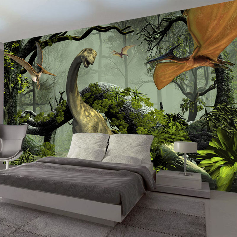 3D Stereo Dinosaur Wall Painting Children Kids Bedroom Theme Hotel