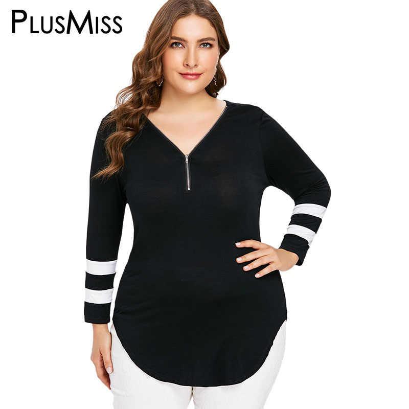 0bb2f275509 PlusMiss Plus Size Striped Zipper Long Sleeve Blouse Women 5XL Autumn Black  2018 Long Tunic Tops