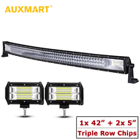 AUXMART 594W Auto 4x4 Combo 3 Row 42 Curved LED Light Bar 2pcs 5inch Flood Offroad