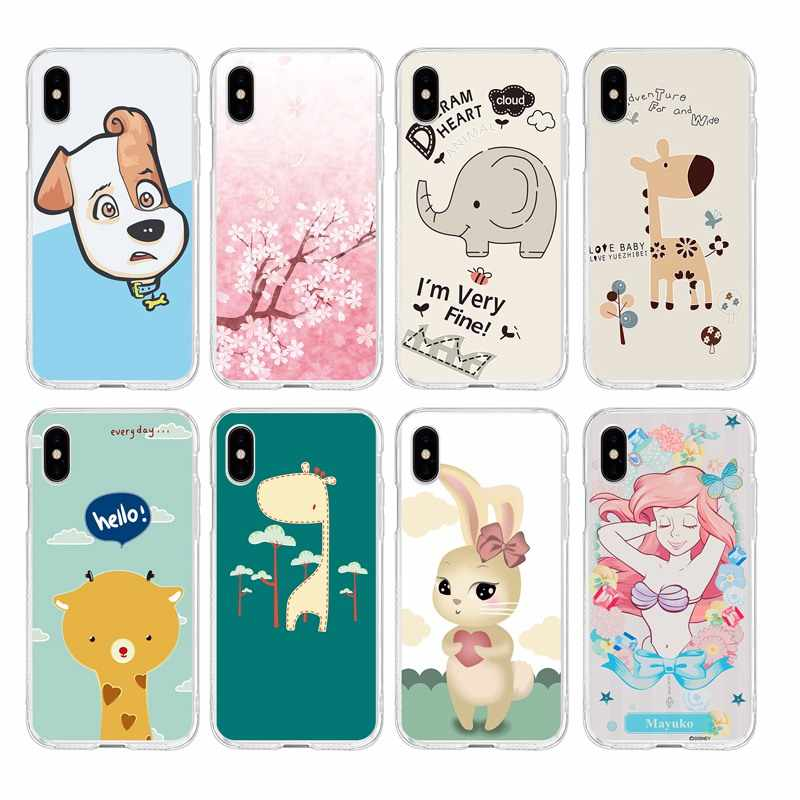 Cartoon hund Meerjungfrau deer elephant blume TPU Telefon Fall Für iPhone 6 6 S Plus 7 7 Plus 8 Plus iPhone X 5 s 4 s C265