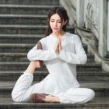 Women Yoga Set Cotton Linen Female Pants+sweatshirt Wear Jerseys Tracksuit Sportswear Running Jogging 2pcs