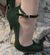 HOT Green Suede Flock Womens Sexy Pumps Shoes Super High Heel 16cm Metal Pointed Toe Wave Edge A9
