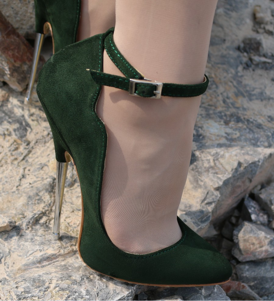 0fef55bd6 HOT Green Suede Flock Womens Sexy Pumps Shoes Super High Heel 16cm Metal  Heel Pointed Toe Wave Edge Shoes A9