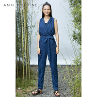 Amii Redefine Denim Jumpsuits Summer Women 2018 Casual Straight Cotton V neck Sleeveless Solid Sashes Long Pants