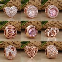2017 Authentic 925 Sterling Silver Bead Gilded Rose Color Charm Pendant Fit Original Pandora Women Bracelet