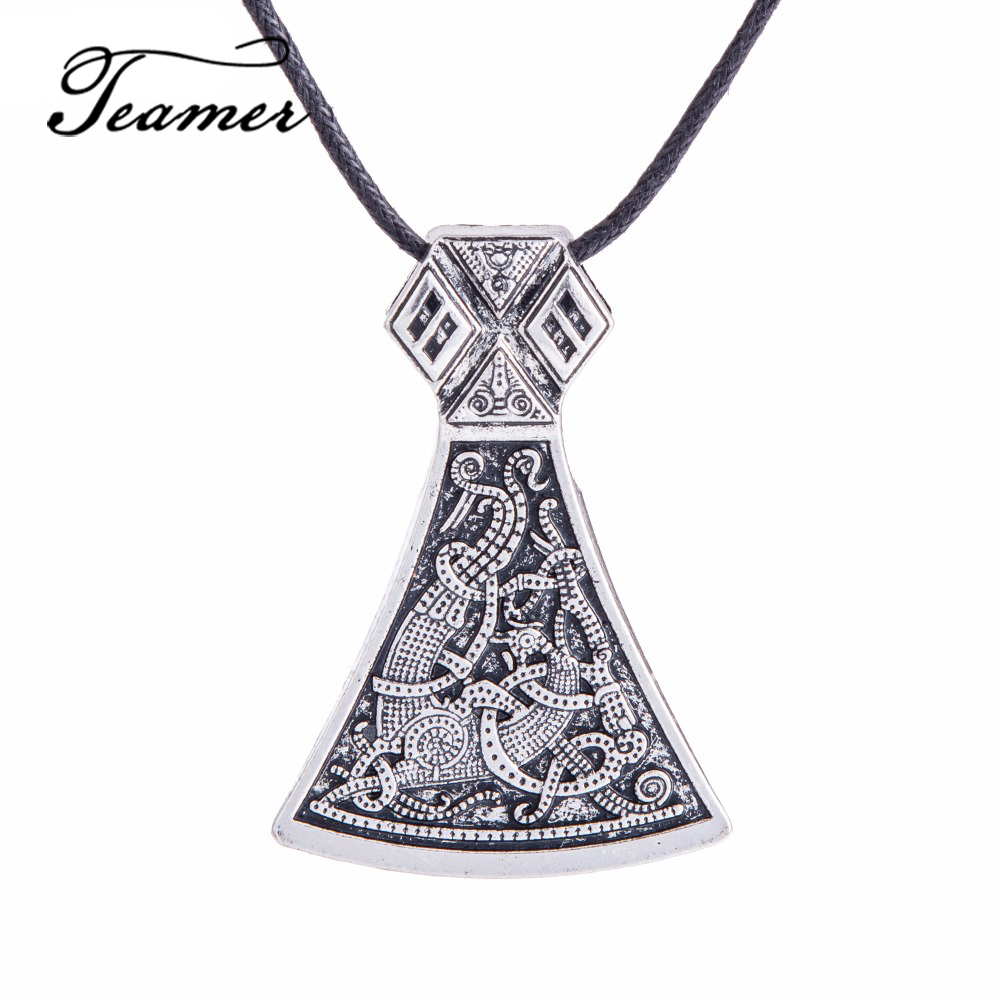 Teamer Thor Hammer Viking Axe Pendant Perun's Slavic Viking Jewelry Men Amulet Pendant Necklace  Fashion Jewelry