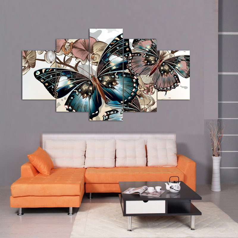 5 Pièce toile anime Animaux peinture à l'huile A cadre ou sans cadre Mur art photo décoration papillon peinture