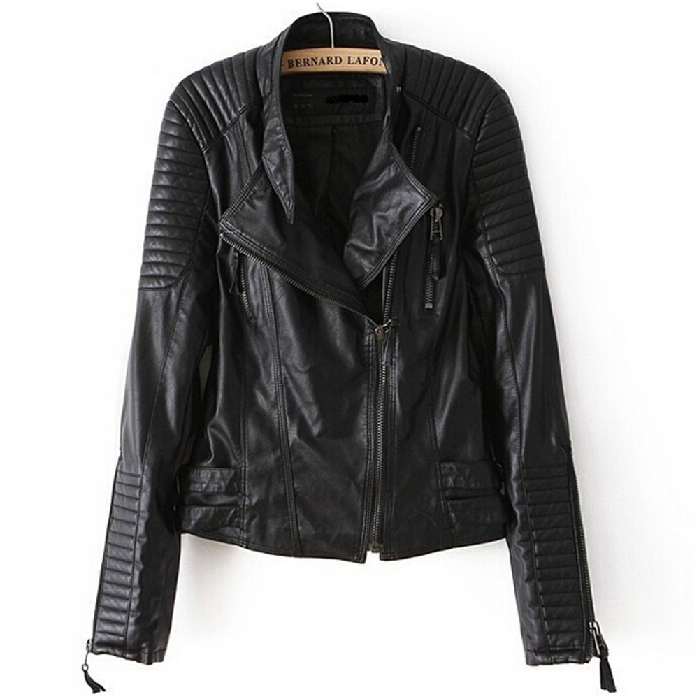 Leather Jacket Women Brand New Faux Soft women Jackets Pu Black Blazer Zippers Coat Long Sleeve Motorcycle Outerwear - Shenzhen Tianfen Electronics Co., Ltd. store