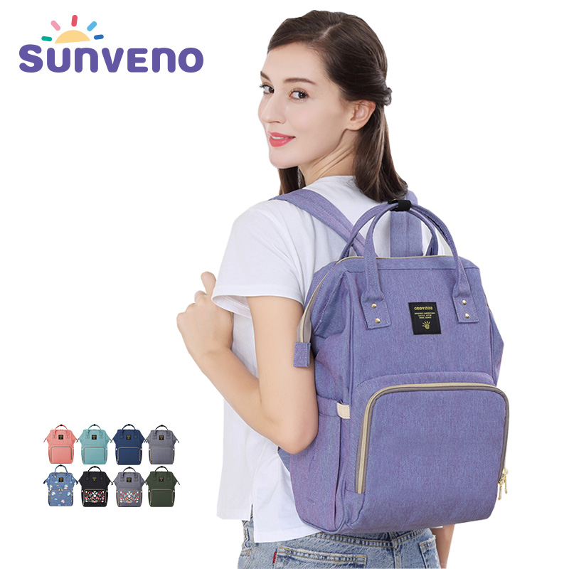 купить Sunveno Mummy Nappy Bag Brand Large Capacity Baby Bag Travel Backpack Multifunctional Maternity Baby Care Bag Diaper Bag недорого