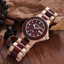 BEWELL Wood Clock Watches Mens Top Brand Luxury Auto Date Hours Quartz Moment Saat Wristwatch Relogio