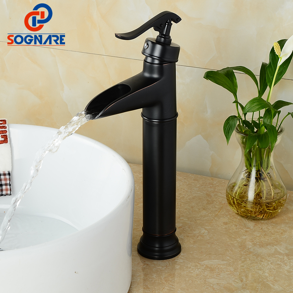 SOGNARE Waterfall Bathroom Basin Sink Faucet Tall Mixer Tap Single Handle Vanity Sink Mixer Water Taps Cold and Hot Vessel Sink micoe hot and cold water basin faucet mixer single handle single hole modern style chrome tap square multi function m hc203