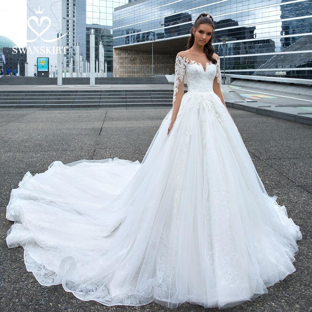 Swanskirt Appliques Wedding Dress 2019 Long Sleeve Lace Up Ball Gown Chapel Train Princess Bride Gown Vestido De Noiva F117