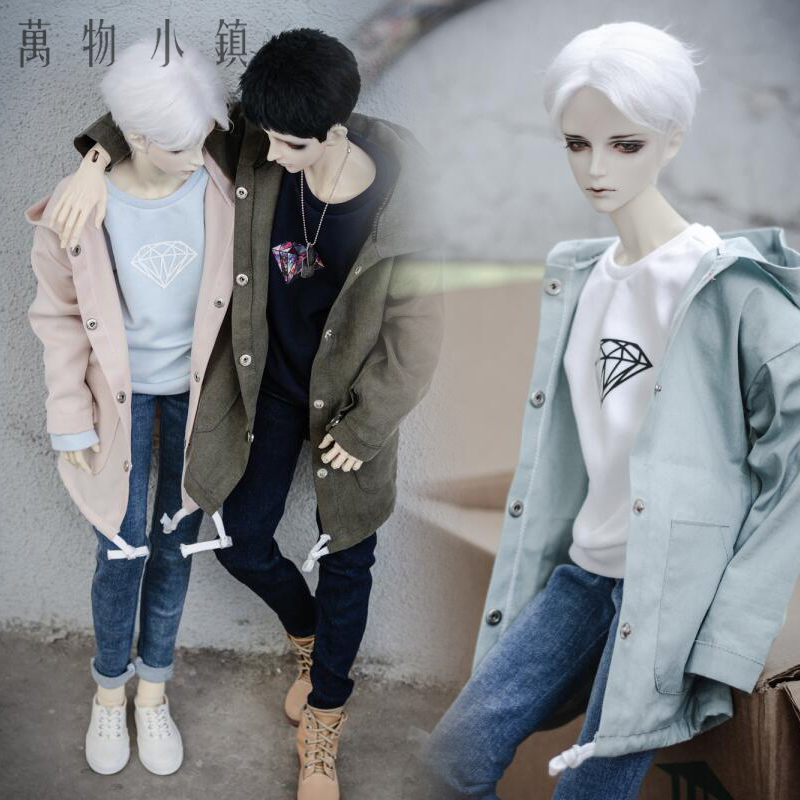 New printing Hooded Cardigan Army green/Pink/Blue 1/3 1/4 SD10 girl Uncle Boy BJD Clothes new handsome fashion stripe black gray coat pants uncle 1 3 1 4 boy sd10 girl bjd doll sd msd clothes