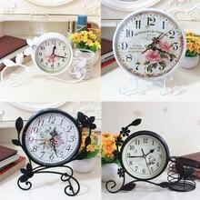 Estilo antiguo de hierro Reloj de escritorio con flores florero casa adornos para el dormitorio decoración reloj de mesa retro regalo de artesanía