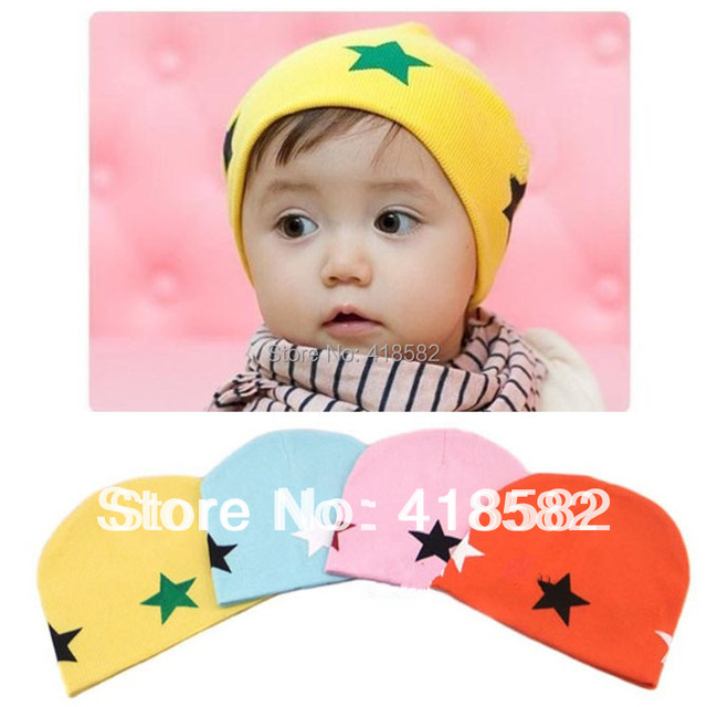 10pcs/lot free shipping baby  Beanie hat  5 stars pattern Cotton Infant Hat  for Toddler Boys  Girls --XM002