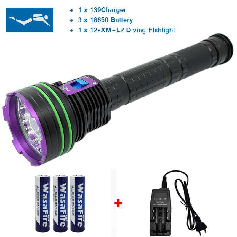 20000 Lumen 12*XML L2 LED Diving Flashlight Torch 100M Underwater Waterproof LED Flash Light Lantern + 3*18650 Battery+ Charger 5x xml l2 12000lm led waterproof diving flashlight magswitch diving torch lantern led flash light 2x18650 battery charger
