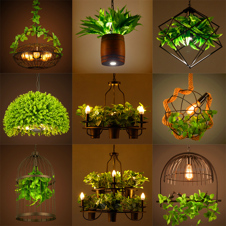 Countryside style plant pot <font><b>pendant</b></font> <font><b>light</b></font> Square round shape wrought iron droplight restaurant cafe bar garden deco hanging lamp image