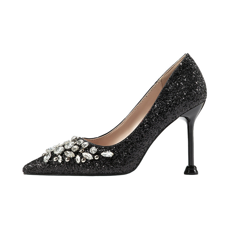 2019 spring and autumn new European and American pointed high-heeled rhinestone womens shoes black ljj 05102019 spring and autumn new European and American pointed high-heeled rhinestone womens shoes black ljj 0510