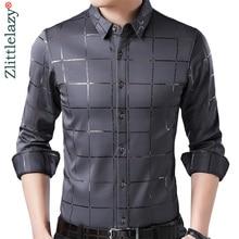 Брендовая Повседневная Весенняя Роскошная приталенная Мужская рубашка в клетку с длинным рукавом, уличная одежда, мужские модные рубашки Джерси 2309