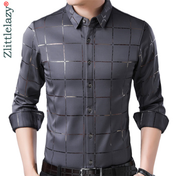 2020 Brand Casual Spring Luxury Plaid Long Sleeve Slim Fit Men Shirt Streetwear Social Dress Shirts Mens Fashions Jersey 2309 1