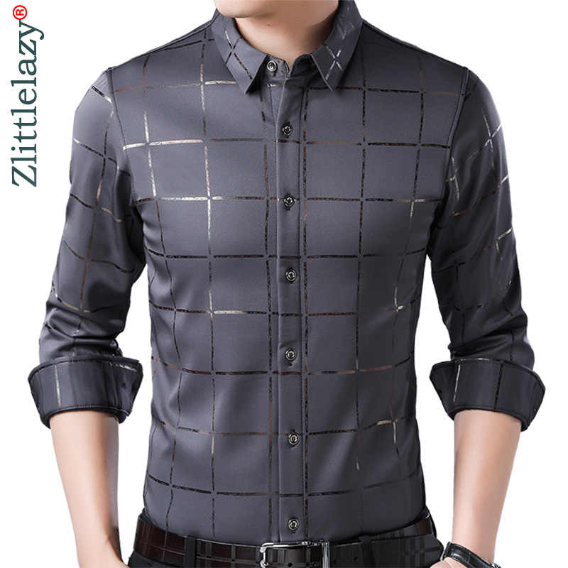 2020 marke Casual Frühling Luxus Plaid Langarm Slim Fit Männer Shirt Streetwear Sozialen Kleid Shirts Mens Fashions Jersey 2309