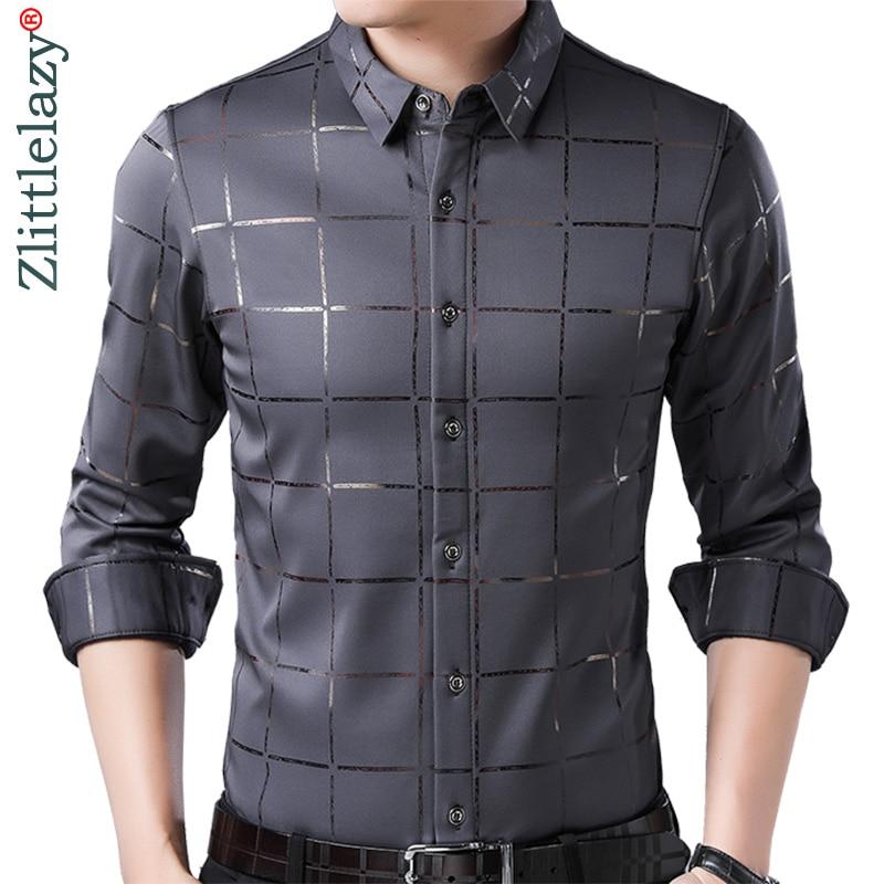 2019 brand casual spring luxury plaid long sleeve slim fit men shirt streetwear social dress shirts mens fashions jersey 2309(China)