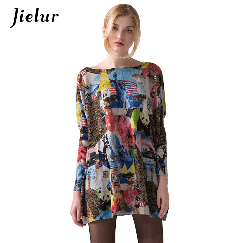 Winter Autumn Chic Long Oversized Sweater for Women Europe Fashion Panda Printed Coloful Sweaters Pullovers Batwing Sleeve Top