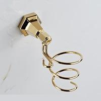 European all brass gold Blower Rack bathroom perforated hair dryer bathroom wind duct wall hanger rack wx6201605