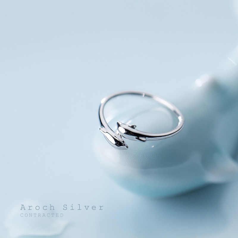 MosDream 3D สด Dolphins แหวน s925 เงินสเตอร์ลิงน่ารักสัตว์แหวนผู้หญิงโรแมนติกของขวัญ