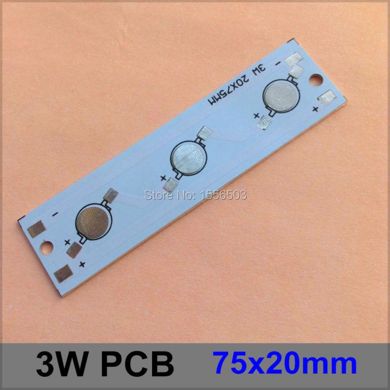 100 Pcs/lot LED Aluminum Base Plate 3W 75*20mm Rectangle LED High Power PCB Plate Circuit Board For 3W LED Lamp