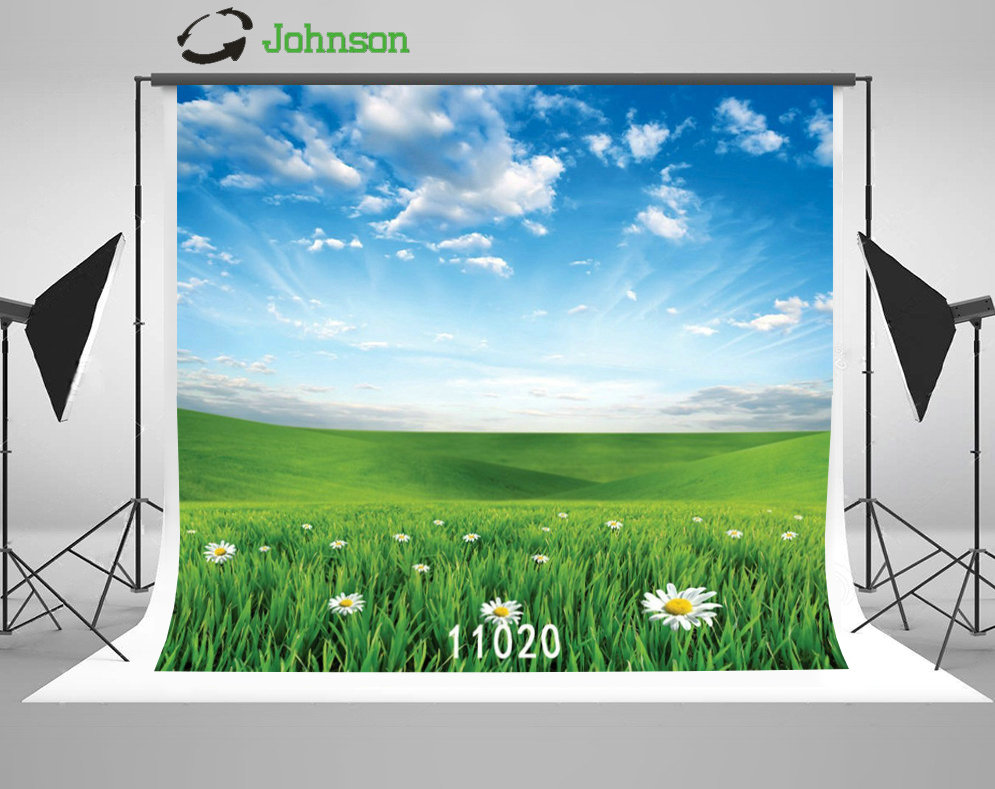 Blue Sky White Clouds Flower Grass Backgrounds polyester or Vinyl cloth High quality Computer print wall backdrops