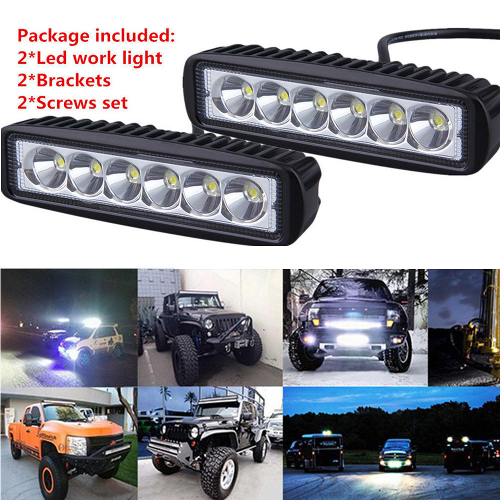 2PCS Universal Car Boat Truck 18W Flood LED Light Work Bar Lamp Driving Fog Offroad SUV 4WD Spotlight Wholesale tripcraft 108w led work light bar 6500k spot flood combo beam car light for offroad 4x4 truck suv atv 4wd driving lamp fog lamp