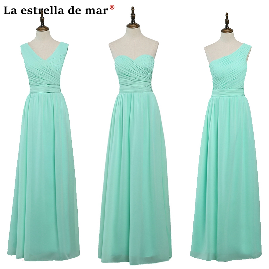 Vestido de madrinha de casamento longo2018 new chiffon a Line mint green  bridsmaid dresses plus size wedding party dress 239face8d94f