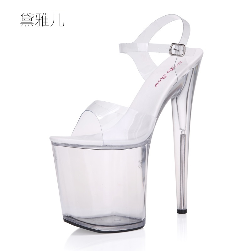 2018 Size 34-44 Summer Style 20cm Transparent Sexy Ultra High Platform Heels Sandals for Women's with Shoes Woman Wedding Ladies shoes woman ultra high heels 15cm platform rose sandals transparent crystal shoes wedding shoes princess shoes size 34 44