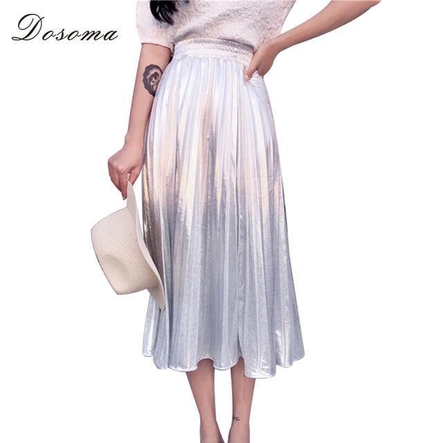 ff17b6df7 DOSOMA Sliver Long Pleated Skirt Women Summer Holographic High Waist Elegant  Midi Skirts Streetwear Fashion School Clothes Tide