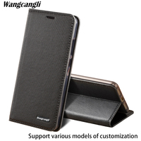 brand genuine leather phone case for samsung s8 diamond Pattern clamshell handphone shell All handmade wangcangli