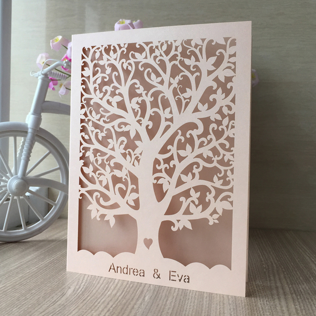 Wonderful 100PCS Love Heart Tree Laser Cut Wedding Invitations Party Table Name Place  Cards For Party Souvenirs Home Design Ideas