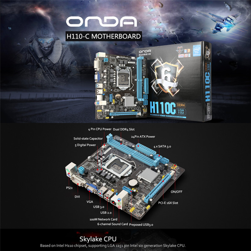 Onda H110C Motherboard Mainboard Systemboard for Intel H110/LGA 1151 mATX SATA USB 3.0 DDR4 Dual Channel for Desktop Computer onda p85s computer motherboard