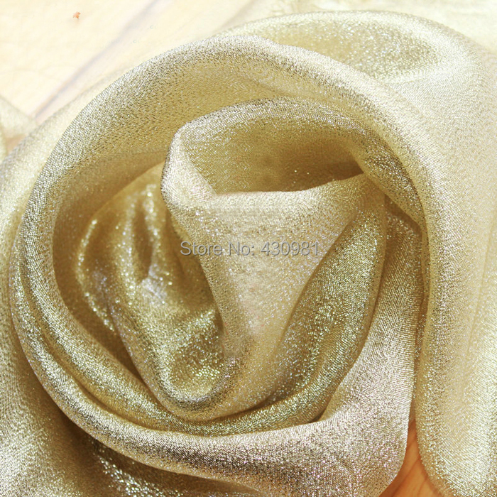 meter golden indian gauze fabric wedding dress material curtains ...