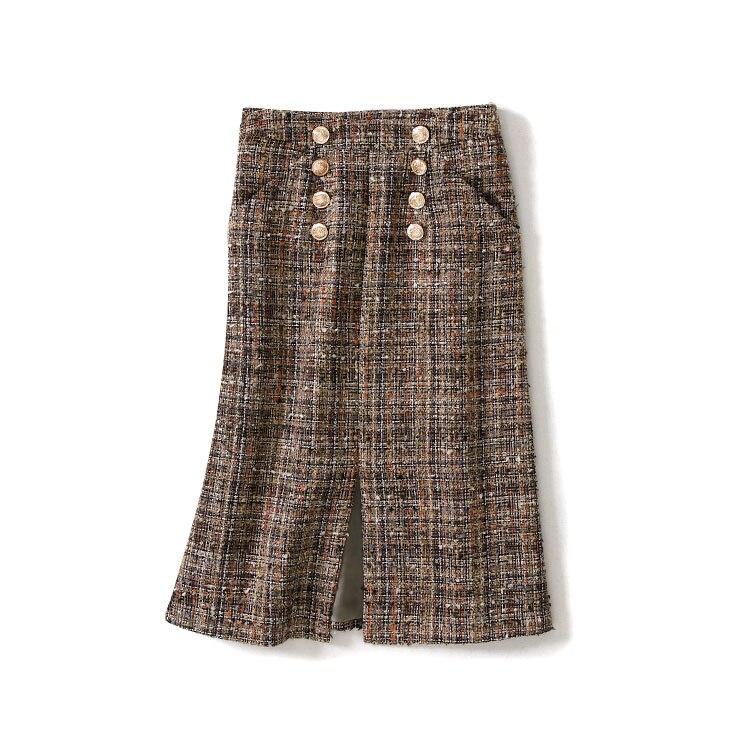 Nouveau 2019 printemps automne mode femmes plaid tweed jupe double boutonnage fente avant sexy jupes élégant haut de gamme bureau