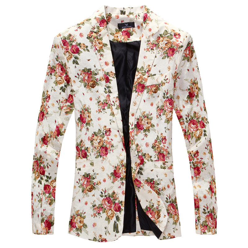 Men Blazer 2019 Brand Men Suit Jacket Funky Floral Printed Coat Single Breasted Casual Blazer Masculino Asian Size
