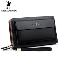 WilliamPolo men wallets leather wistlet clutch bag Business Genuine Leather wallet male purse Strap Card Holder Clutch wallet