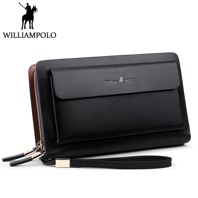 WilliamPolo men wallets leather wistlet clutch bag Business Genuine Leather wallet male purse Strap Card Holder Clutch wallet