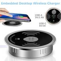 Chargeur rapide sans fil Qi de bureau intégré 10W 7.5W ou 5W USB-A type-c 15W chargeur rapide 3.0 caricabatteur intégré Tipe C chargeur qi