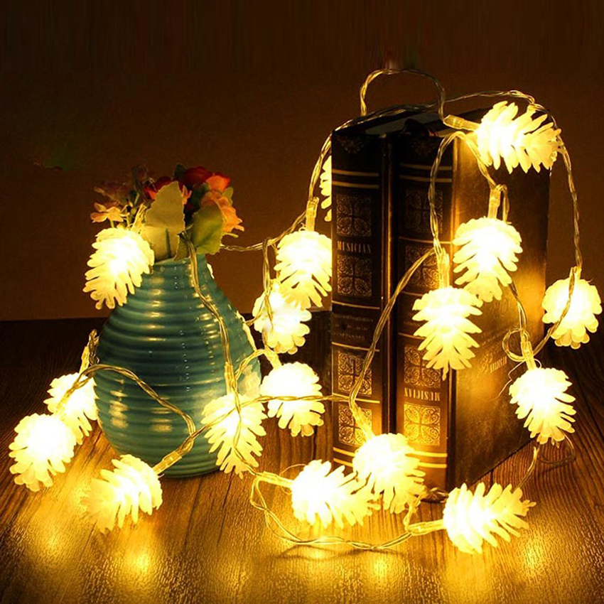 10leds 20leds 30leds 40leds Pinecone LED String Lights Ramadan Christmas Holiday Party Wedding New Year Decoration Garlands